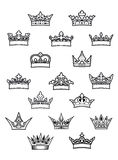 Heraldic king and queen crowns set Stock Image