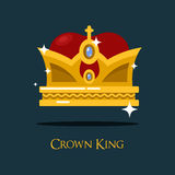 Heraldic king or queen majesty golden crown. Vintage emperor head crown as imperial or monarch icon or sign. May be used for medieval and victorian, coronation Stock Photo