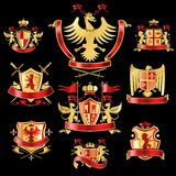 Heraldic labels gold red Stock Photography