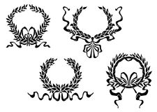 Heraldic laurel wreaths with ribbons Stock Photography