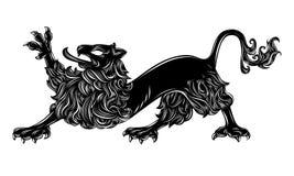Heraldic lion. Lion illustration isolated on white, heraldry style Stock Photography