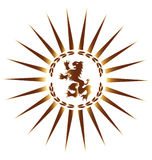 Heraldic Lion. Seal in sunburst Royalty Free Stock Photography