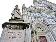 Heraldic Lion at the Base of Dante's Monument, Florence, Italy. Heraldic Lion at the Base of a Marble statue of Dante Alighieri by sculptor Enrico Pazzi located Stock Photo