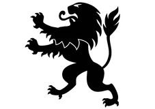 Heraldic Lion. Black lion ornament in vector format Stock Photos