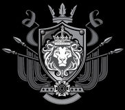 Lion Flag Crest. A Heraldic lion crest with shield, crown, and banners Royalty Free Stock Image