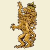 Heraldic Lion With Crown Stock Images