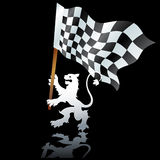 Heraldic lion with formula one flag Royalty Free Stock Photos