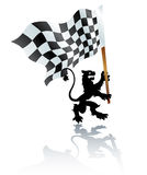 Heraldic lion with formula one flag Stock Image