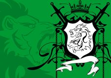 Heraldic lion head coat of arms background4 Stock Image