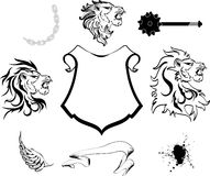 Heraldic lion head coat of arms set Stock Photo