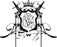 Heraldic lion head coat of arms tattoo Royalty Free Stock Images