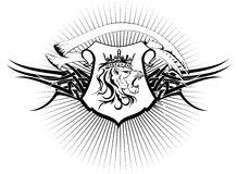 Heraldic lion head coat of arms tattoo6 Stock Photography