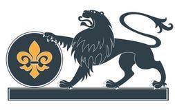 Heraldic lion silhouette Stock Photos