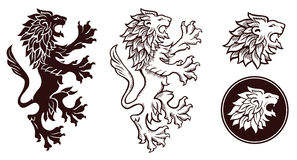 Heraldic lion silhouettes Royalty Free Stock Photos