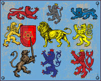 Heraldic lions. Collection of traditional heraldic lions. Additional vector format Illustrator 8 eps Stock Photos