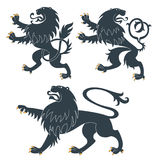 Heraldic Lions set Stock Photos