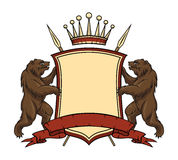 Heraldic logo element. Bears with shield and Stock Image