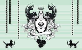 Heraldic coat of arms medieval helmet crest background. Heraldic medieval helmet background in vector format very easy to edit Stock Photo