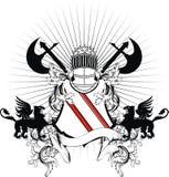 Heraldic griffin medieval helmet coat of arms crest. Heraldic medieval helmet set in vector format very easy to edit Stock Image