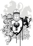 Heraldic horse medieval helmet coat of arms crest Royalty Free Stock Photos