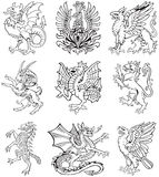 Heraldic monster vol II. Vectorial pictograms of most heraldic monsters, executed in style of gravure on wood. No dlends, gradients and strokes royalty free illustration