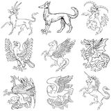 Heraldic monsters vol IV. Pictograms of most heraldic monsters, executed in style of gravure on wood. No dlends, gradients and strokes royalty free illustration