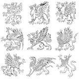 Heraldic monsters vol V. Vectorial pictograms of most heraldic monsters - gryphons, executed in style of gravure on wood. No dlends, gradients and strokes vector illustration
