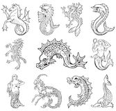 Heraldic monsters vol VI. Vectorial pictograms of most heraldic sea monsters, executed in style of gravure on wood. No dlends, gradients and strokes Stock Photography