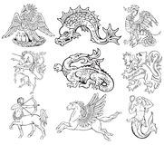 Heraldic monsters vol VII. Vectorial pictograms of most heraldic monsters, executed in style of gravure on wood. No dlends, gradients and strokes Royalty Free Stock Photography
