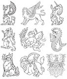Heraldic monsters vol VIII. Vectorial pictograms of most heraldic monsters, executed in style of gravure on wood. No dlends, gradients and strokes Stock Photos