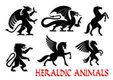 Heraldic mythical animals emblems Stock Image