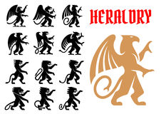 Heraldic mythical animals icons set Royalty Free Stock Image