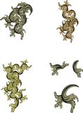 Heraldic ornaments tattoo crest set Stock Images
