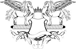 Heraldic pegasus coat of arms crest shield Royalty Free Stock Images