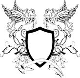 Heraldic pegasus coat of arms crest shield2 Stock Photos