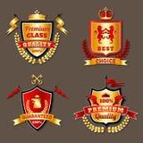 Heraldic Premium Realistic Emblems Set Royalty Free Stock Images