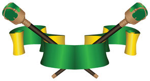 Heraldic ribbon with two scepters Stock Photo