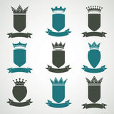 Heraldic royal blazon illustrations set - imperial striped decor Stock Image