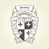 Heraldic royal coat of arms with imperial symbols, shield, crown Royalty Free Stock Images