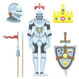 Heraldic royal crest medieval knight elements vintage king symbol heraldry brave hero vector illustration. Historical insignia attributes luxury ornament Stock Photography