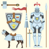 Heraldic royal crest medieval knight elements vintage king symbol heraldry brave hero vector illustration. Historical insignia attributes luxury ornament Stock Images