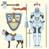 Heraldic royal crest medieval knight elements vintage king symbol heraldry brave hero vector illustration Stock Images