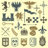 Heraldic royal crest medieval knight elements vintage king symbol heraldry castle badge vector illustration. Historical insignia crown luxury ornament graphic Royalty Free Stock Image