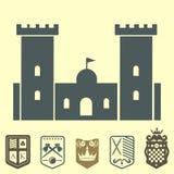Heraldic royal crest medieval knight elements vintage king symbol heraldry castle badge vector illustration Royalty Free Stock Photos