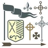 Heraldic royal crest medieval knight elements vintage king symbol heraldry castle badge vector illustration Stock Photos