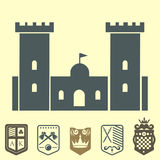 Heraldic royal crest medieval knight elements vintage king symbol heraldry castle badge vector illustration Royalty Free Stock Image