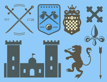 Heraldic royal crest medieval knight elements vintage king symbol heraldry castle badge vector illustration Royalty Free Stock Images