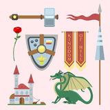 Heraldic royal crest medieval knight elements vintage king symbol heraldry castle badge vector illustration. Historical insignia attributes luxury ornament Royalty Free Stock Images