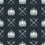 Heraldic royal crest medieval knight elements vintage king symbol heraldry seamless pattern vector illustration Stock Photo