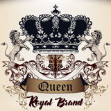 Heraldic Royal design of logotype in antique style with crown, l Stock Images